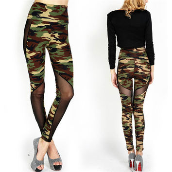 Sexy Mesh Camouflage Army Leggings High Waist Patchwork Stretchy Slim