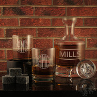 The Holdout - Design's Deep-Carved Decanter with Monogram Designs & OPTIONAL Monogrammed Old Fashioned Tumblers and Engraved Whiskey Stones