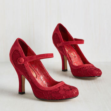 Poetic License Poised Impression Heel in Scarlet | Mod Retro Vintage Heels | ModCloth.com