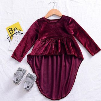 Baby Girl Dress Cute Baby Girls Kids Toddler Asymmetrical Hem Dress Autumn Long sleeve Pleuche Tops Clothes Vintage 0-3Y