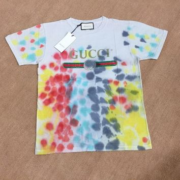 Gucci Tie-dye Color Woman Retro Short sleeve T-shirt
