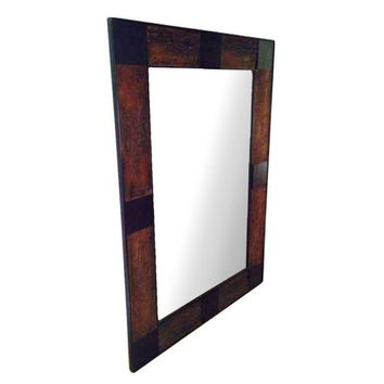 Pre-owned Large Distressed Wood Leaner Mirror