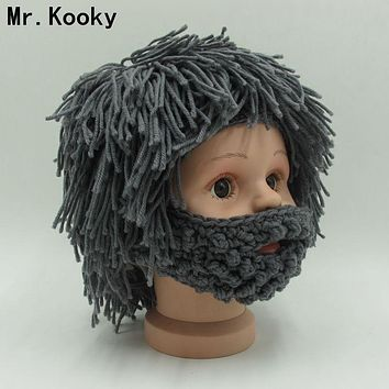 Mr.Kooky Wig Beard Hats Hobo Rasta Caveman Handmade Knitted Warm Winter Caps Baby Boy Girl Halloween Gift Funny Children Beanies