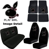 Play Girl Bunny Gem Crystal Studded Rhinestone Bling Car Truck SUV Floor Mats Bucket & Bench Seat Covers - Combo Kit Gift Set - 8PC