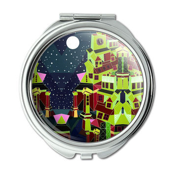 Steampunk Town Green Science Fiction Fantasy Compact Purse Mirror