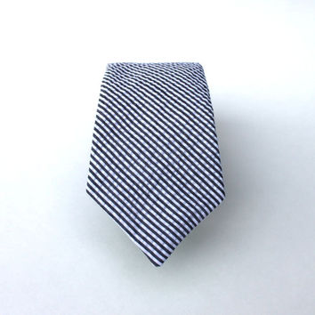 Men's Tie - Black Seersucker - Black and White Pinstripes