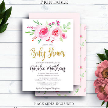 Personalized Floral Baby Shower Invite, Customized Printable Pink Baby Shower, Vintage Roses, Printable Baby Shower Invite,  Watercolor