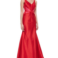 Sleeveless V-Neck Colorblock Mermaid Gown, Size: