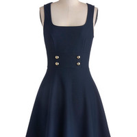 ModCloth Scholastic Mid-length Tank top (2 thick straps) A-line Delightfully Charming Dress in Navy