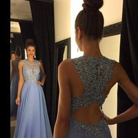 Crew Neck Prom Dresses,Lavender Prom Dresses,Long Evening Dress