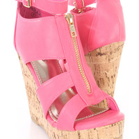 Pink Strappy Peep Toe Cork Wedges Faux Leather