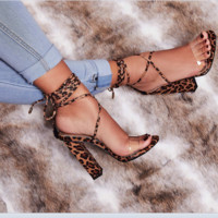 Hot style PVC single word horizontal leopard print cross strap chunky high heel sandals