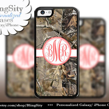 Camo Coral Monogram iPhone 5C 6 Plus Case iPhone 5s 4 case Ipod Realtree Personalized Country Inspired Girl