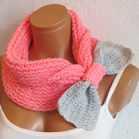 woman style bow scarf,Knitted Bow Scarf Chunky Neck Warmer Pink Gray. Winter Fashion Knitted Cowl. Woman Accessory