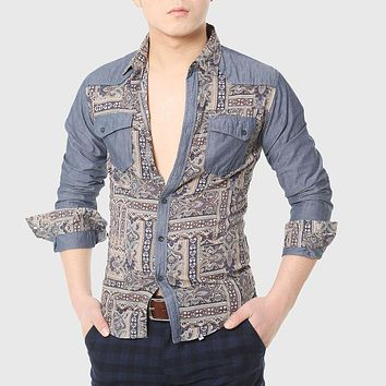 Men Ethnic Shirts Male Totem Print Shirt Work Long Sleeve Patchwork Gothic Cool Collared