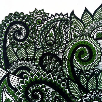 "Green Sage Henna Abstract Line Drawing Print Original Design 8""x10""  by Katie N. Dunphy"