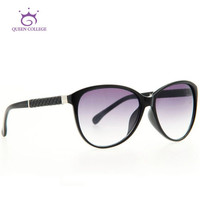 Queen college free shipping cat eye brand sunglasses women Good quality sun glasses vintage 5 colors Oculos UV400 QC0149