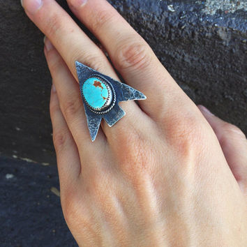 Arrowhead Ring // Pilot Mountain Turquoise // Size 6.5 // Sterling Silver