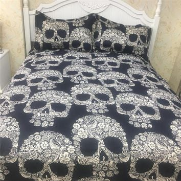 2018 3D Black Flower Skull Bed Covers Polyester Microfiber Bedding Set 2/3/4Pc Twin Queen King Duvet Cover Set Sheet Pillowcases