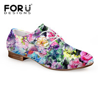 FORUDESIGNS Women Shoes PU Oxford Shoes for Women Floral Flats Shoes Woman Moccasins Casual Oxfords Zapatos Mujer Plus Size