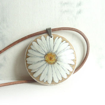 White Marguerite Necklace Daisy Necklace , Hand Painted Pendant, Painted Wood,  Leather Cord, Nature, Hues of White and Ochre