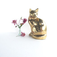 Vintage Large Brass Cat Figurine or Doorstop