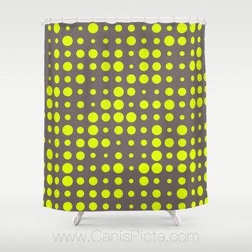 "Modern Chartreuse Dots Pattern Shower Curtain 71""x74"" Decorative Bath Tub Room Bathroom Interior Decor Geometric Grey Neon Yellow Hot Green"