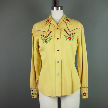 40s H Bar C Western Snap Shirt Vintage 1940s Embroidered Wool Gabardine Yellow Fitted B 36""
