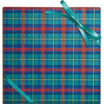 Plaid With Foil Wrapping Paper