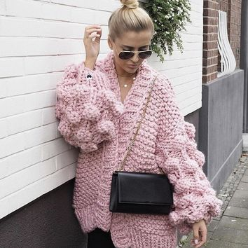 Knitted Pom Sweater with Puff Sleeves