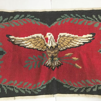 Vintage Eagle Needlework Wall hanging Tapestry Mid century