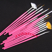 15 pcs Set Pink Nail Art Paint Dot Draw Pen Brush for UV Gel diy decoration tool