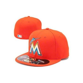 Mens Miami Marlins MLB New Era Road Authentic 59FIFTY Fitted Hat