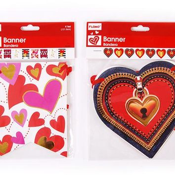 """valentine heart paper banners - 48"""" Case of 72"""