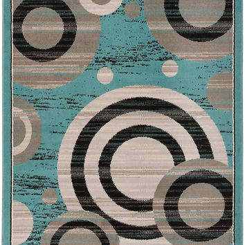 5091 Light Blue Geometric Contemporary Area Rugs