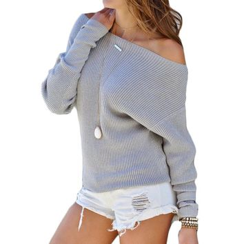Autumn Women Sweater Batwing Sleeve Off Shoulder Knitted Pullover Sweater Casual Loose Knitting Sweater Pullovers Pull Femme