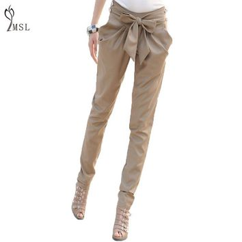 40%N320ZS Belt Pleated Loose Women High Waist Women Skinny Long Trousers OL Casual Bow Harem Pants Plus Size Black Female Cotton