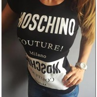 Black & White New Sexy Women T-Shirt Top Tee Moschino