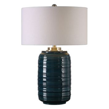 Delane Dark Teal Ceramic Table Lamp by Uttermost