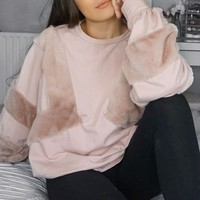 ROSE JUMPER WITH FUR ON FRONT AND SLEEVES - MERCEDES