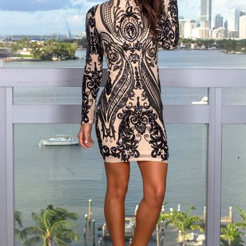 Black and Nude Sequin Short Dress
