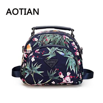 AOTIAN 2017 New Nylon Backpack Fashion Big Flowers Small Nylon Backpack Women Waterproof Backpack Casual Daypacks