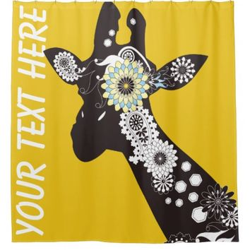 Funky Cool Paisley Giraffe Whimsical Yellow Shower Curtain