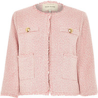River Island Womens Pink boxy boucle jacket