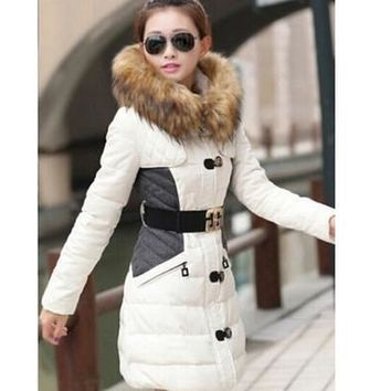 New Women's Slim down cotton trench coat stitching hooded padded jacket belt fur [8833586764]