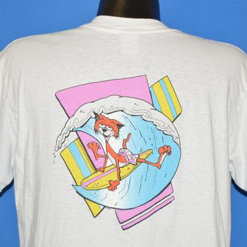 70s California Neon Surfing Cat t-shirt Large