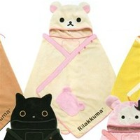 San-X Rilakkuma Little Bear Fleece Hooded short cape (Young Adult Size M)