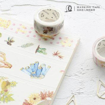 5 pcs DIY Japanese Paper Washi Tapes Decorative Adhesive Tapes Gold Planet Birds Masking Tape Stickers Size 5M