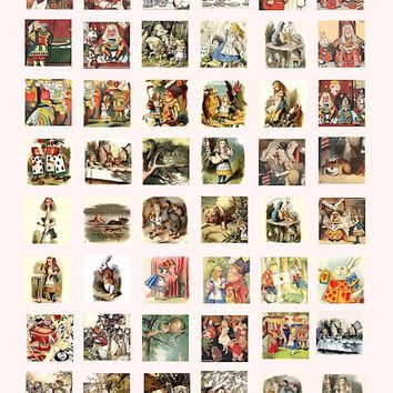Alice in Wonderland vintage book art digital download collage sheet 1 inch squares pins pendants etc...
