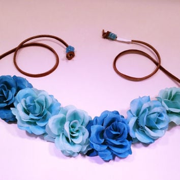 Blue Ombre Rose Flower Headband, Flower Crown, Flower Halo, Festival Wear, EDC, Coachella, Ultra Music Festival, Rave